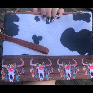 Canvas Cow Print/ Bull Head Clutch/Wristlet